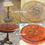 Renovace stolku s intarzií