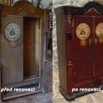 Renovace starého nábytku - almara s malbou