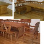 Sestava stůl, lavice, židle, křeslo do selského stavení